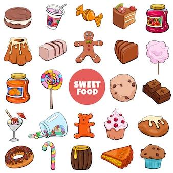Conjunto de objetos e doces de comida doce dos desenhos animados