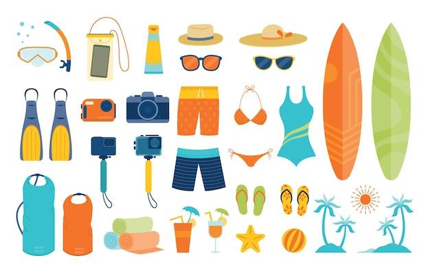 Conjunto de objetos e equipamentos de verão