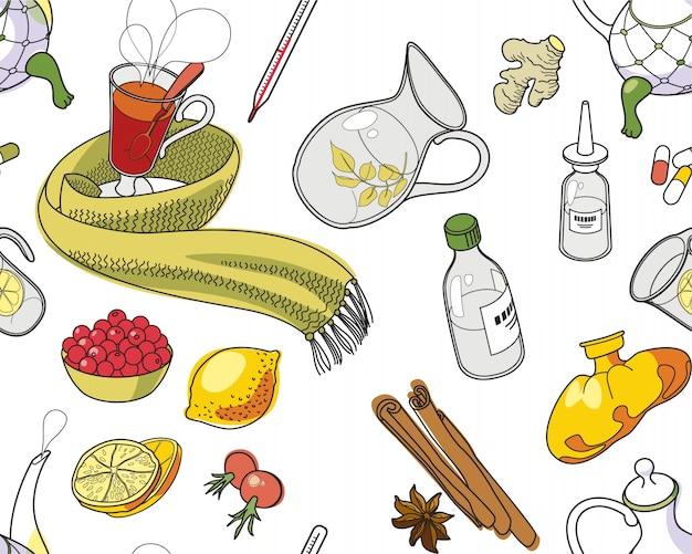 Conjunto de objetos e ervas para tratar resfriados.