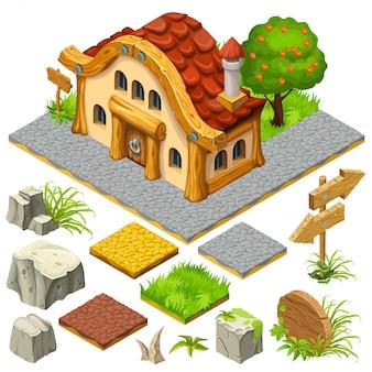 Conjunto de objetos e isométrica casa de campo.