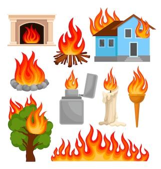 Conjunto de objetos em chamas e queima, fontes de propagação de fogo ilustrações sobre um fundo branco