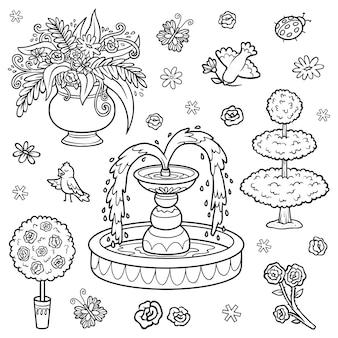 Conjunto de objetos em preto e branco do jardim real itens de desenho vetorial para uma princesa