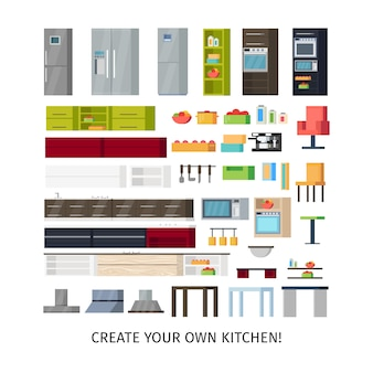 Conjunto de objetos internos de cozinha moderna