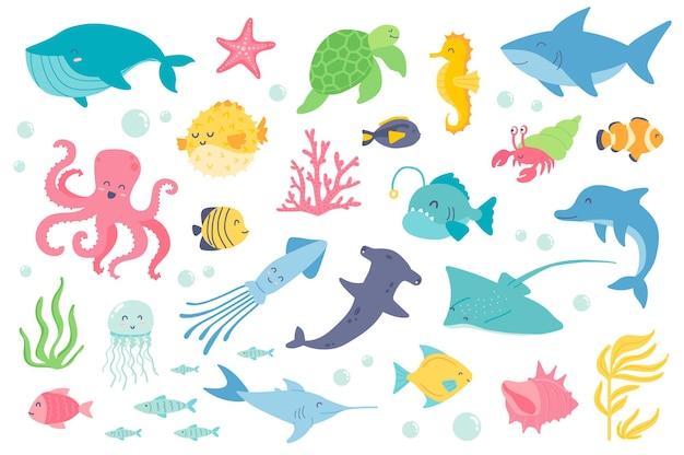 Conjunto de objetos isolados de animais e peixes subaquáticos coleção de cavalos-marinhos tartaruga estrela do mar baleia