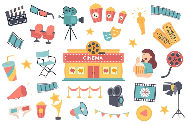 Conjunto de objetos isolados de cinema coleção de badalo óculos 3d, câmera, pipoca, estatueta de oscar