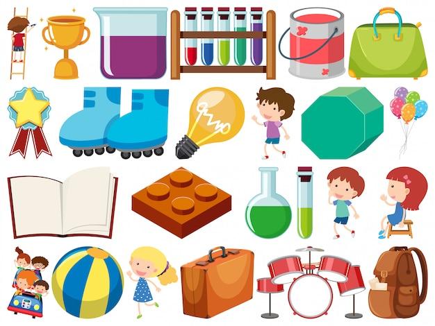Conjunto de objetos isolados de crianças e itens de escola