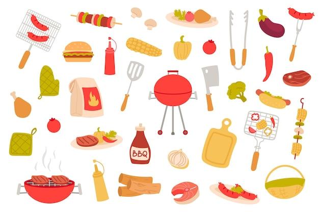 Conjunto de objetos isolados de piquenique churrasco coleção de churrasco cozinhando pratos de carne bife de salsicha