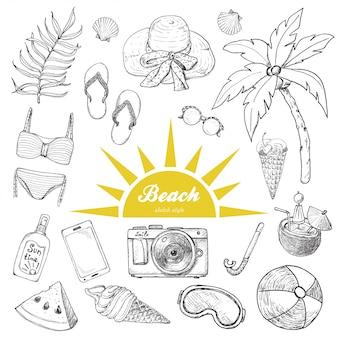 Conjunto de objetos isolados de verão