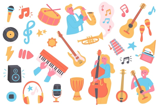 Conjunto de objetos isolados do festival de música coleção de músicos tocando saxofone, violão, contrabaixo