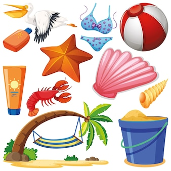 Conjunto de objetos isolados, férias de verão