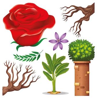 Conjunto de objetos isolados jardinagem temática