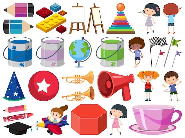Conjunto de objetos isolados papelaria tema e crianças