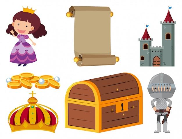 Conjunto de objetos isolados tema conto de fadas