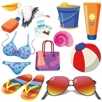 Conjunto de objetos isolados tema férias de verão