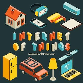 Conjunto de objetos isométricos com internet