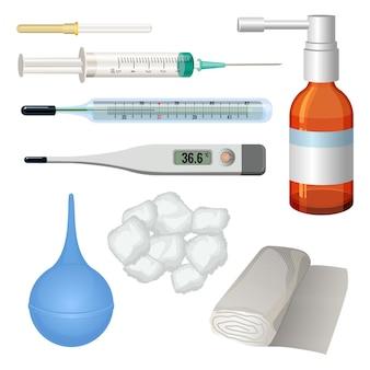 Conjunto de objetos médicos para tratamento. seringa com agulha hipodérmica, termômetro com mercúrio em vidro, termômetro eletrônico, enema de borracha, algodão e curativo próximo ao frasco de remédio