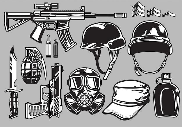 Conjunto de objetos militares