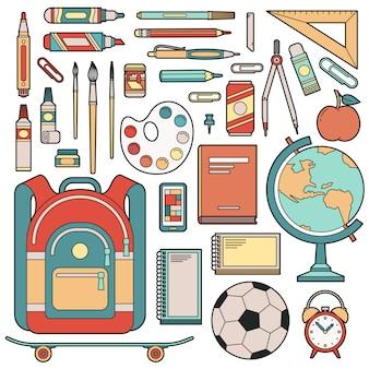 Conjunto de objetos para o aluno na escola.