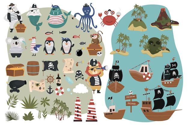 Conjunto de objetos piratas em estilo de desenho animado divertidos personagens animais, ilha do tesouro e navios