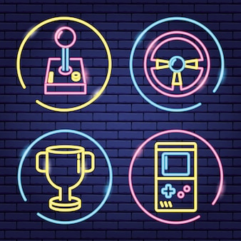 Conjunto de objetos relacionados a jogos de vídeo em neon e estilo linear