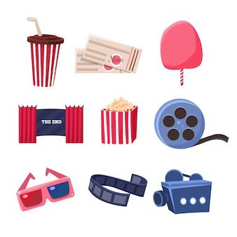 Conjunto de objetos relacionados ao cinema