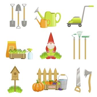 Conjunto de objetos relacionados ao jardim