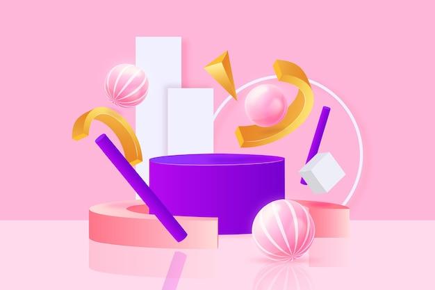 Conjunto de objetos renderizados 3d abstratos