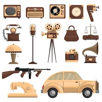 Conjunto de objetos retrô