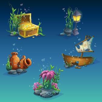 Conjunto de objetos subaquáticos. algas marinhas, bolhas, um baú de moedas, riqueza, ânfora velha quebrada, pedras, barco afundado, lanterna.
