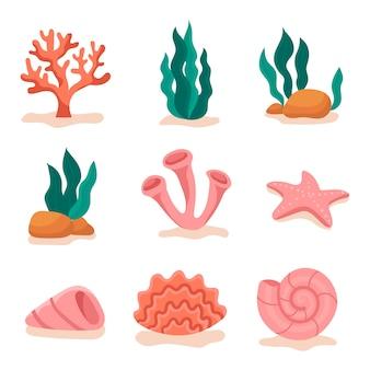 Conjunto de objetos subaquáticos.