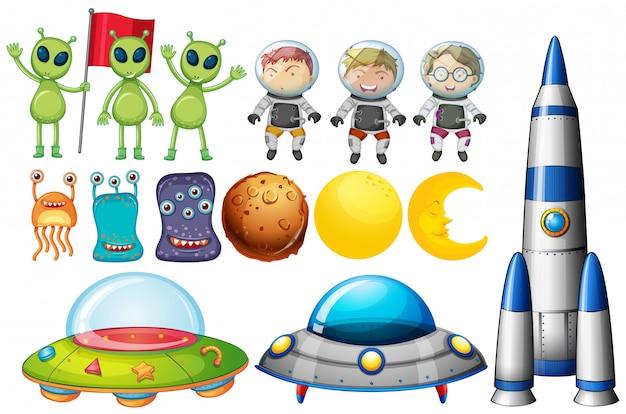 Conjunto de objetos temáticos do espaço