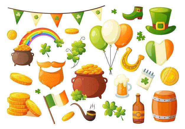 Conjunto de objetos tradicionais da irlanda para o dia de são patrício Vetor Premium