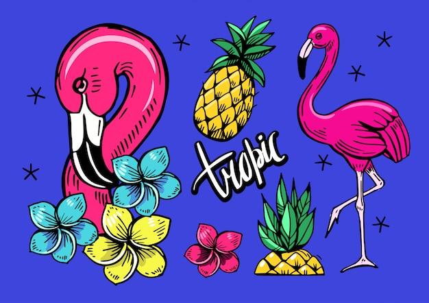Conjunto de objetos tropicais com flamingos, abacaxi
