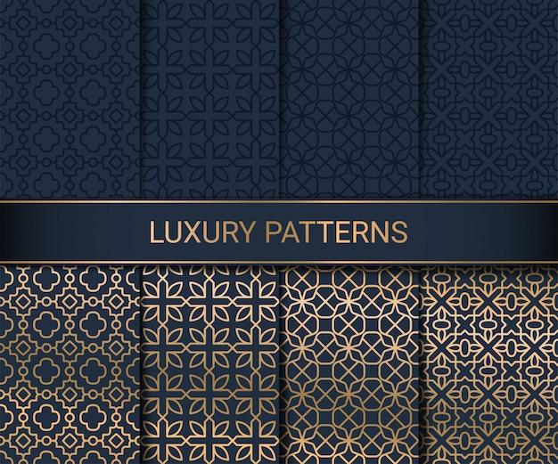Conjunto de obras de arte de padrões sem emenda de luxo, ilustração