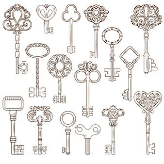 Conjunto de obras de linha de chaves vintage