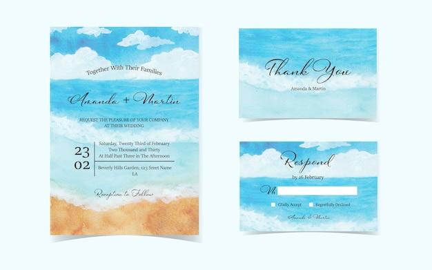 Conjunto de oceano com cartão de convite de casamento de céu azul