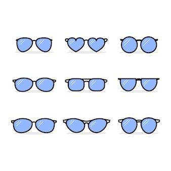 Conjunto de óculos da moda de diferentes formas, cores e vidros.