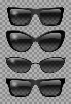 Conjunto de óculos de forma diferente. olho de gato trapezoidal estreito futurista. cor preta transparente. óculos de sol.