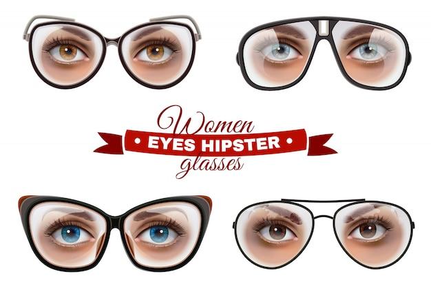 Conjunto de óculos de mulheres hipster