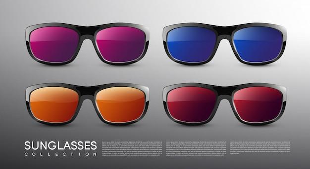 Conjunto de óculos de sol coloridos modernos e elegantes