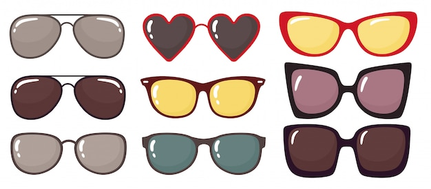 Conjunto de óculos de sol da moda.