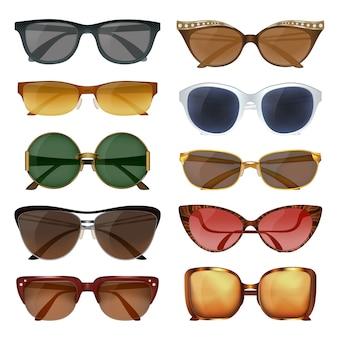 Conjunto de óculos de sol de verão