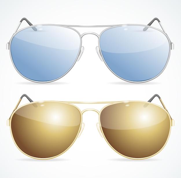 Conjunto de óculos de sol do aviador, proteção contra luz solar intensa.