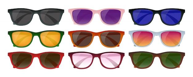 Conjunto de óculos de sol hipster