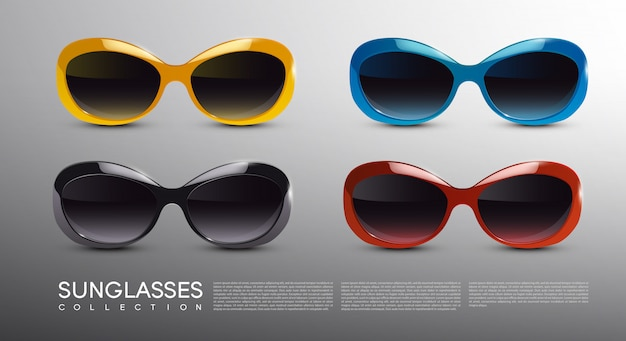 Conjunto de óculos de sol modernos e elegantes
