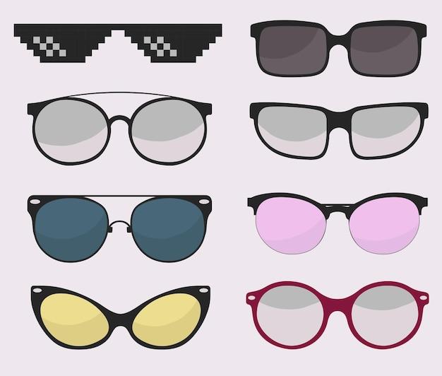 Conjunto de óculos de sol, óculos de proteção com proteção solar.