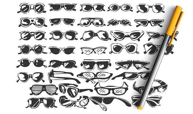 Conjunto de óculos doodle