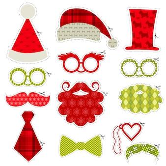 Conjunto de óculos para festa na cabine fotográfica de natal