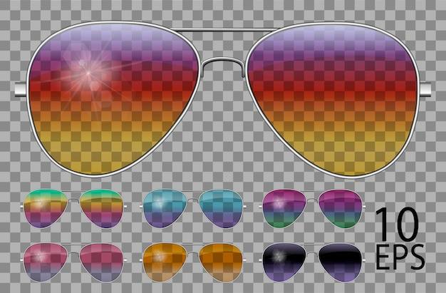 Conjunto de óculos. polícia cai em forma de aviador. cor diferente transparente. óculos de sol. gráficos 3d. camaleão arco-íris rosa azul roxo amarelo vermelho verde laranja preto. unissex mulheres homens
