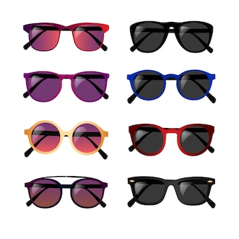 Conjunto de óculos realistas isolado no branco